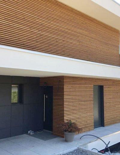Réalisation de façade en bois