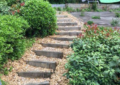 Escalier en poutres de chêne