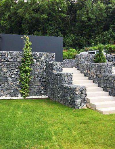 Réalisations Murs en gabions et escalier en pierre